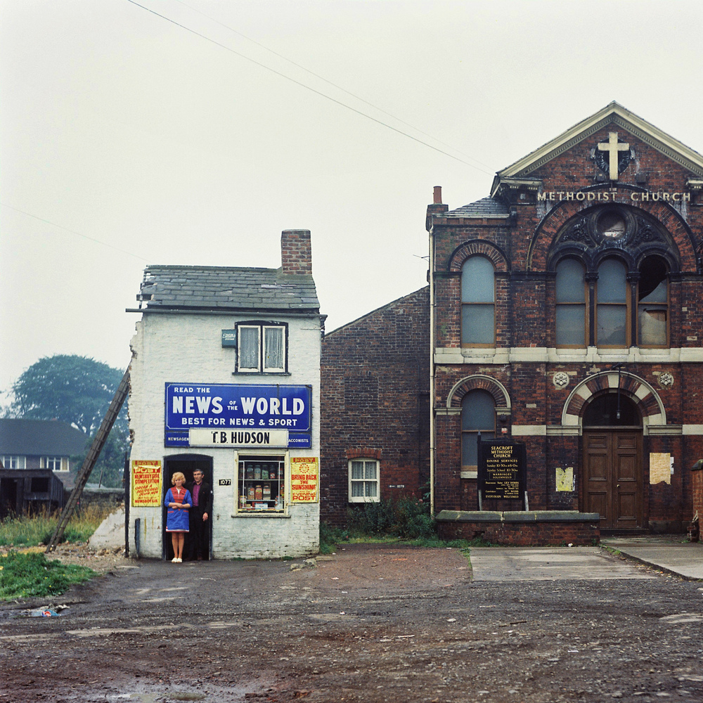 ©Peter Mitchell, Mr. & Mrs. Hudson. Wedsneday 14 August 74. 11 a.m. Seacroft Green, Leeds.