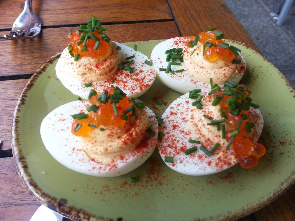 Deviled eggs with salmon roe CookshoopNY