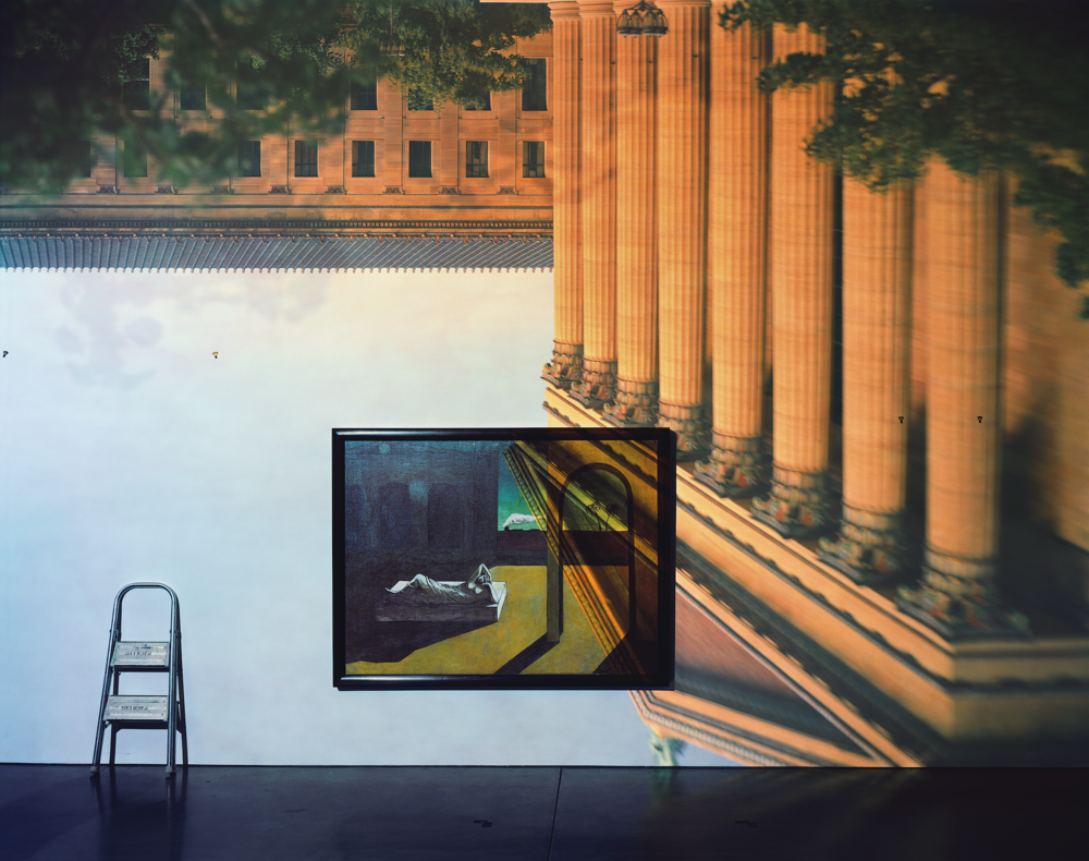 Abelardo Morell, Camera Obscura: The Philadelphia Museum Of Art East Entrance in Gallery #171 With A Decherico Painting, 2005.