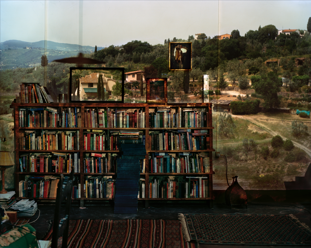 Abelardo Morell, Camera Obscura: View Outside Florence With Bookcase, Italy, 2009