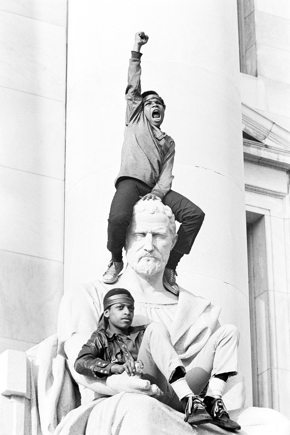 Image Above: A boy salutes the Panthers, New Haven County Courthouse, May 1, 1970. All images: Stephen Shames, Courtesy of Steven Kasher Gallery