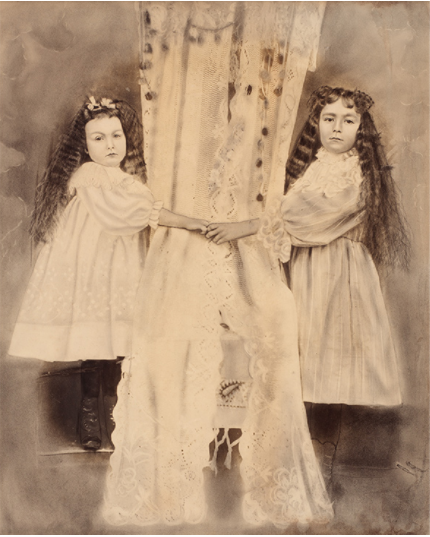 American Unidentifyed, Girls With Drape, c. 1860, hand colored gelatin silver print, 30 x 24 inch.