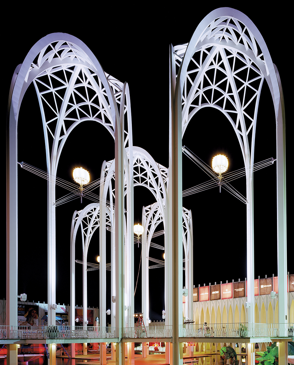 "Seattle 1962 World's Fair, ""Century 21 Exposition,"" Science Center Arches at Night, 2014 ©Jade Doskow"