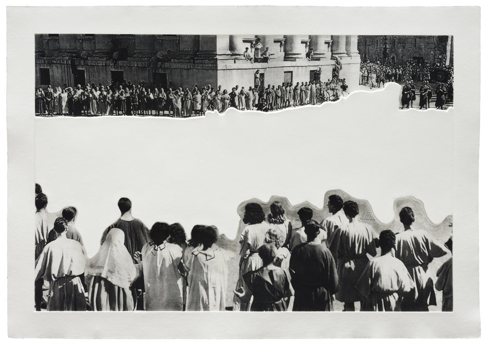 © John Baldessari Crowds with Shape of Reason Missing: Example 4, 2012. Mixografía® print on handmade paper, Edition of 60, 30 X 43.5 inches
