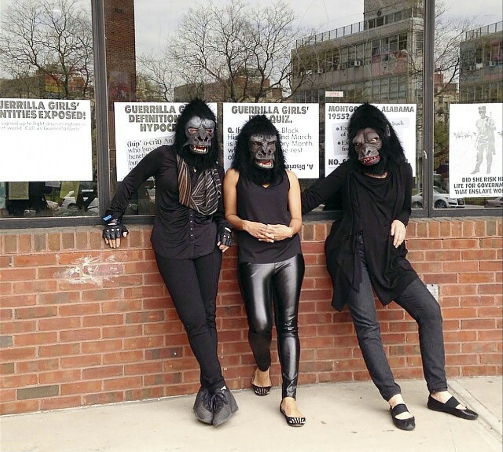 Guerrilla Girls. Kathe Kollwitz, Zuberida Agha and Frida Kahlo, New York City, May 2015. Photo by Abrons Arts Center © Guerrilla Girls