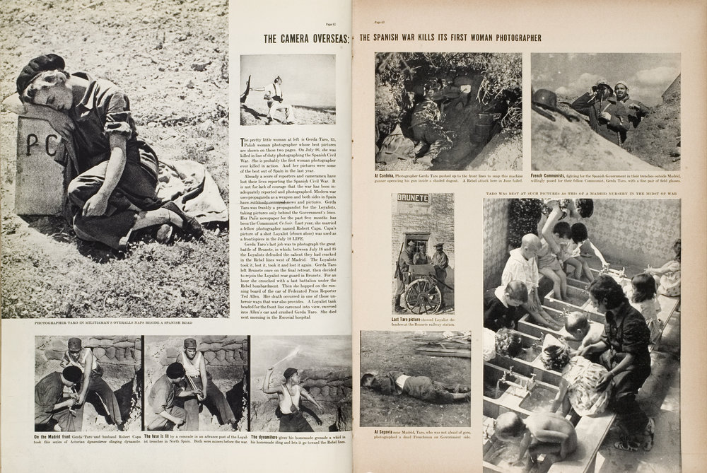 Life, August 16, 1937, pp. 62-63. Featuring photographs by Gerda Taro and Robert Capa. Photo © Robert Capa, courtesy International Center of Photography