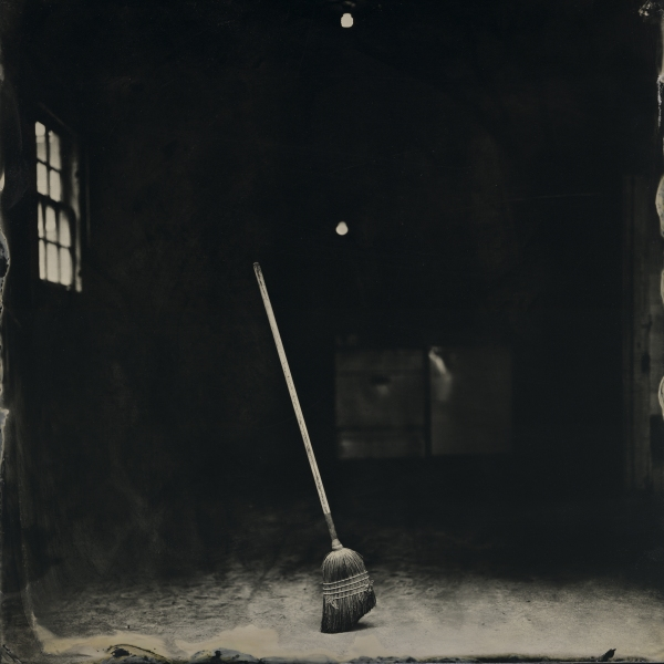 Frank Hamrick (Ruston, LA) Standing Broom, 2016, from the series Harder than Writing a Good Haiku, tintype,  7.5 x 7.5 inches, courtesy of the artist
