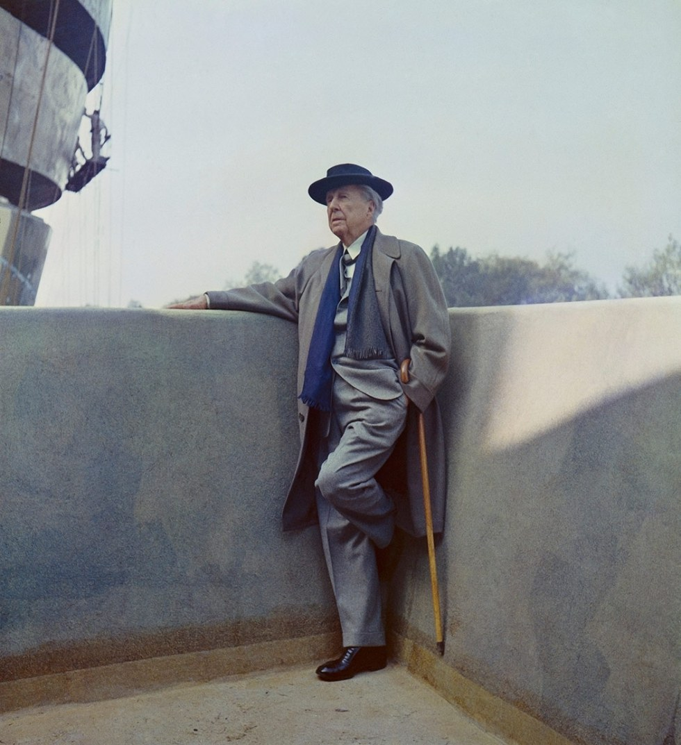 Frank Lloyd Wright on the balcony of the Solomon R. Guggenheim Museum during construction, 1959. Photo: William H. Short. Solomon R. Guggenheim Musuem Archives. New York, New York.