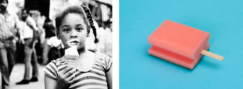 Image courtesy of Robert Mann Gallery. Images from left to right: Ted Croner, Untitled (Young Girl with Ice Cream Cone), 1947-52 PUTPUT, #11, Popsicles, 2012