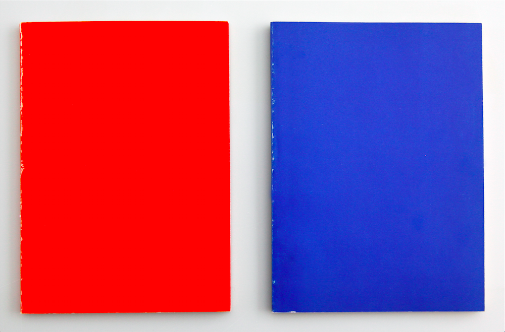 Louise Lawler. Untitled, Red/Blue. 1978. Printed books, each: 6 15/16 x 4 15/16 in. (17.6 x 12.5 cm). Courtesy the artist and Metro Pictures. © 2017 Louise Lawler