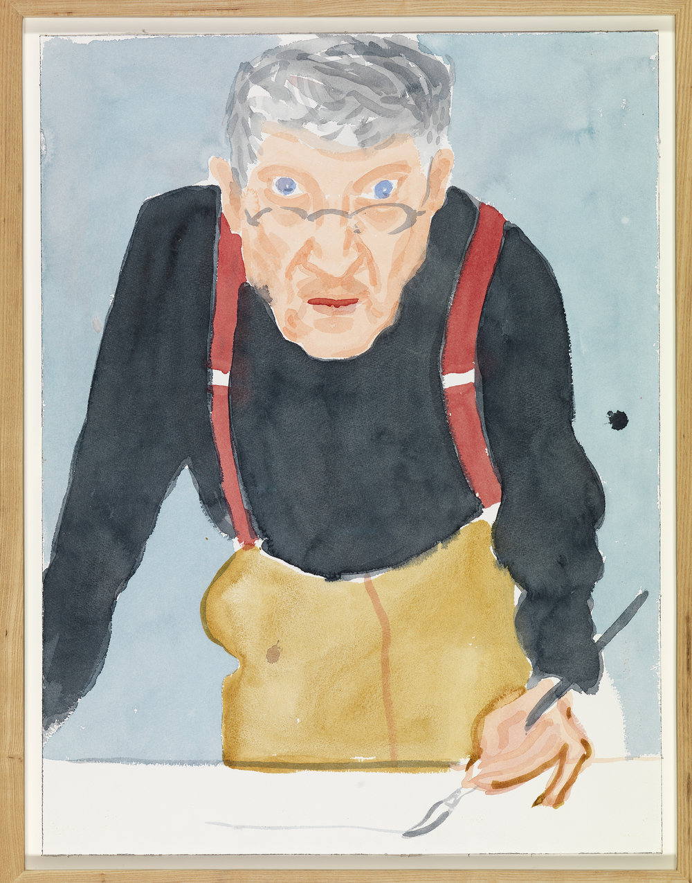 "David Hockney ""Self Portrait with Red Braces"" 2003 Watercolor on paper 24 x 18 1/8"" © David Hockney Photo Credit: Richard Schmidt"