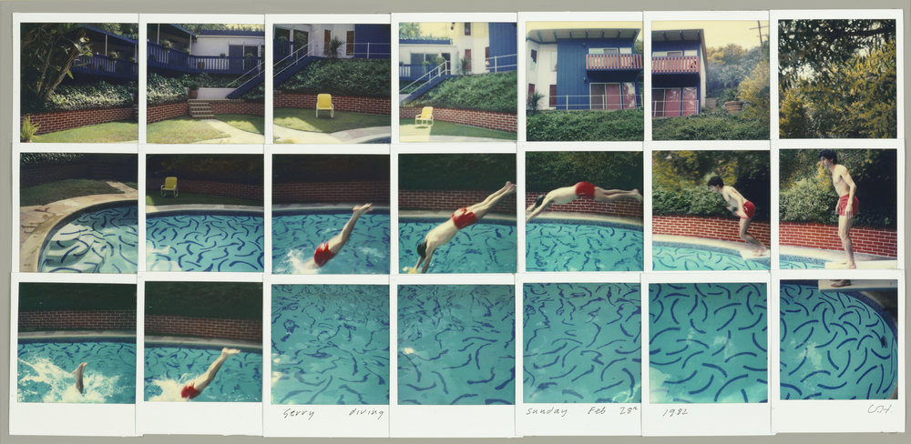 "David Hockney ""Jerry Diving Sunday Feb. 28th 1982"" Composite polaroid 10 1/2 x 24 1/2"" © David Hockney. Photo Credit: Richard Schmidt"