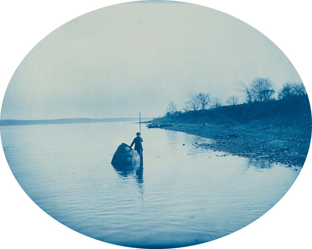 Mechanic's Rock, L.W., 1889 © Henry Peter Bosse / Cyanotype/image: 26.51 × 33.18 cm (10 7/16 × 13 1/16 in.) sheet: 36.83 × 43.66 cm (14 1/2 × 17 3/16 in.) /The J. Paul Getty Museum, Los Angeles