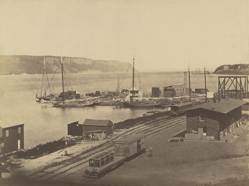 Palisades, Hudson River, Yonkers Docks, c. 1855  ©Silas A. Holmes / Salted paper print /Image: 29.21 × 38.58 cm (11 1/2 × 15 3/16 in.); mount: 40 × 47.3 cm (15 3/4 × 18 5/8 in.)/ The J. Paul Getty Museum, Los Angeles / Digital image courtesy of the Getty's Open Content Program