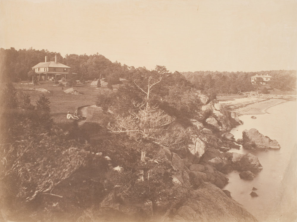 View of the Loring Estate at Pride's Crossing, Beverly, Massachusetts, c. 1857-1859 © Samuel Masury / Salted paper print /Image: 25.3 × 33.7 cm (9 15/16 × 13 1/4 in.) /Worcester Art Museum, Eliza S. Paine Fund