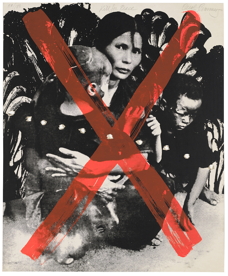 Carol Summers (1925-2016), Kill for Peace, 1967, from ARTISTS AND WRITERS PROTEST AGAINST THE WAR IN VIET NAM, 1967. Screenprint and photo-screenprint with punctures on board, 23 3/8 x 19 1/4in. (59.4 x 48.9 cm). Whitney Museum of American Art, New York; purchase, with funds from the Print Committee 2006.50.14 © Alexander Ethan Summers