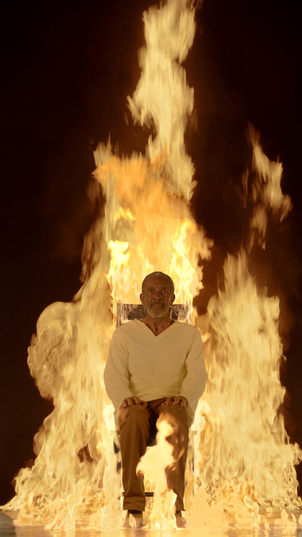 Bill Viola,  Fire Martyr , 2014, Color High-Definition video on flat panel display, 42 3/8 x 24 1/2 x 2 5/8 in. (107.6 x 62.1 x 6.8 cm), 7:10 minutes, Executive producer: Kira Perov, Performer: Darrow Igus