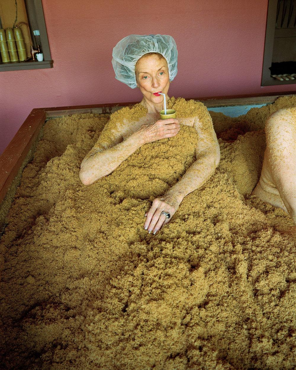"""Cedar enzyme bath, Osmosis Spa, Freestone, CA , 2010 © Sage Sohier 35 x 28"""" image on 42 x 35"""" paper"""