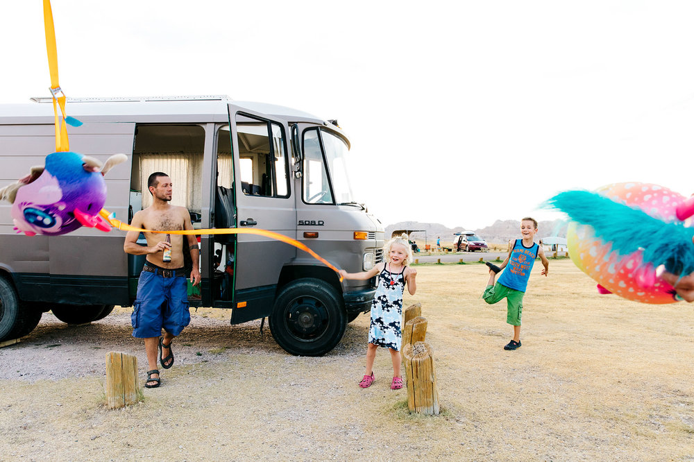 Gideon, Tamar and Max at Cedar Pass Campground in Badlands National Park  © Jennifer Emerling