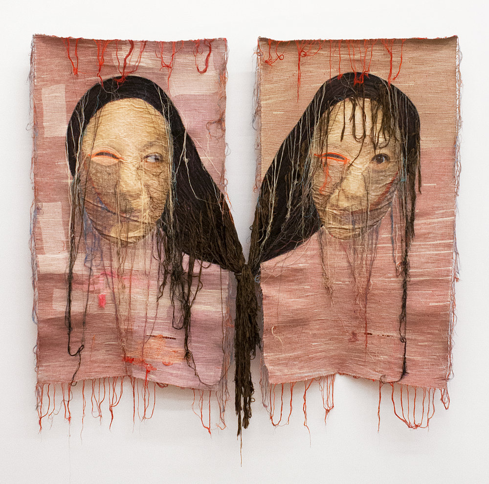 Rag face #37 and Rag face #38, 2012. Sewing on Fabric and Photograph Unique.  Courtesy Yossi Milo Gallery, New York.  © Yoon Ji Seon.