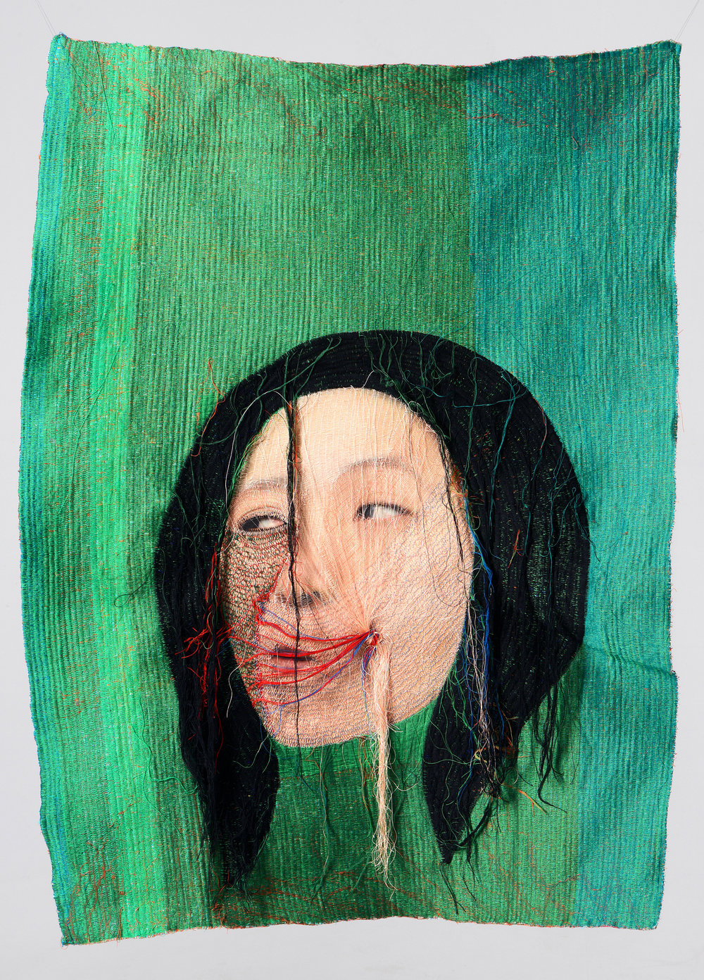Rag face #14003, 2014 . Sewing on Fabric and Photograph Unique.  Courtesy Yossi Milo Gallery, New York.  © Yoon Ji Seon.