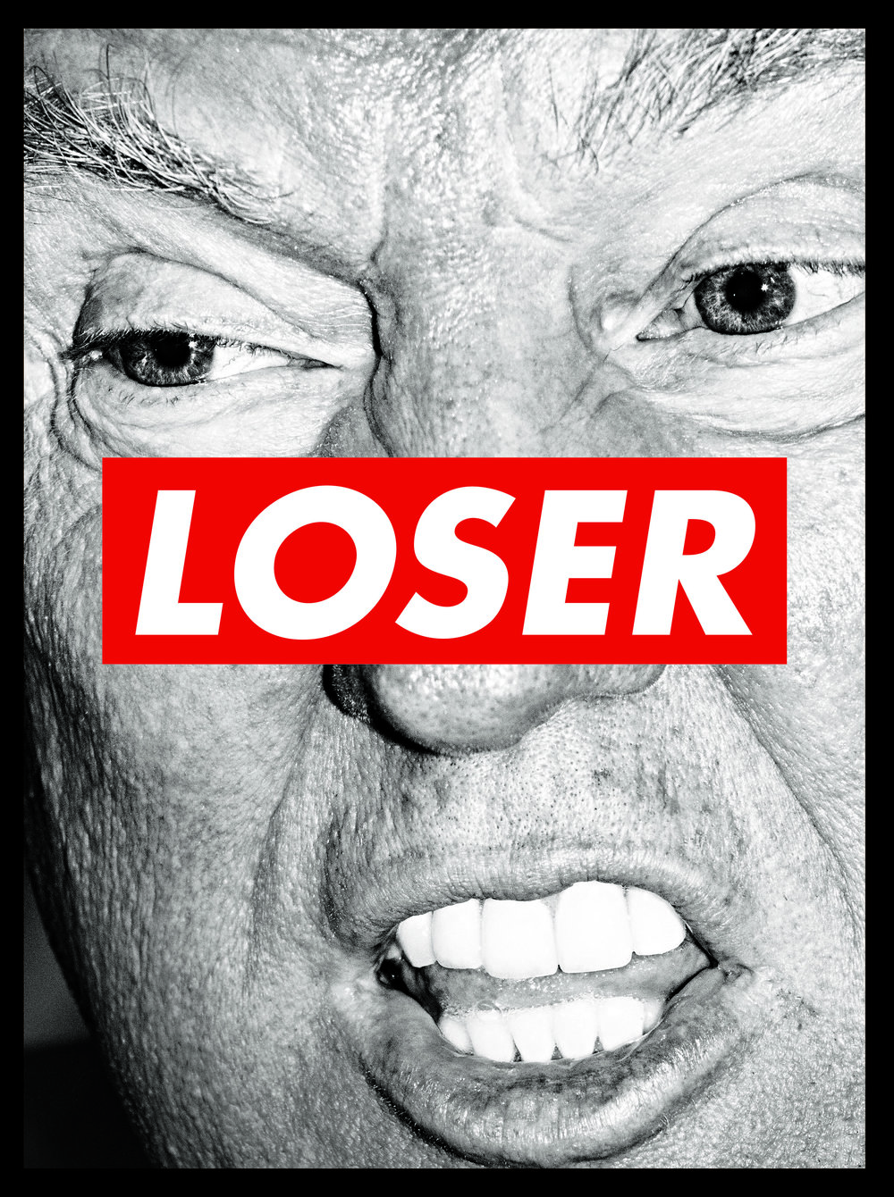© Mark Peterson / Art by Barbara Kruger. Oct. 31, 2016 Loser. Cover, October 2016. Art by Barbara Kruger made with a photograph of Donald Trump by Mark Peterson on the 2016 campaign trail. Design Director: Thomas Alberty Photo Director: Jody Quon Publication: New York