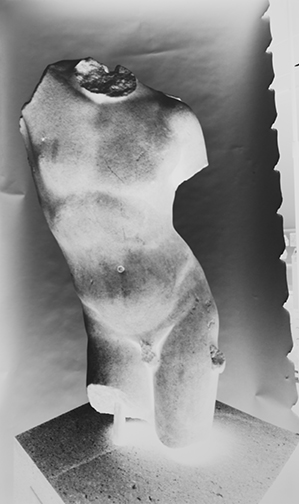 Vera Lutter (German, b. 1960) Marble Torso of Eros, Metropolitan Museum, 5 November 2012. Courtesy of Hans P. Kraus Jr. Fine Photographs.