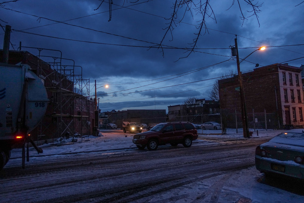 Michael_ Bach_ Early morning with garbage truck, Church Street Alley and Adams Street, Troy, New York, February 2018.jpg