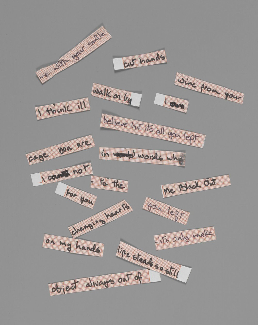 "Cut up lyrics for ""Blackout"" from Heroes, 1977. Courtesy of The David Bowie Archive. Image © Victoria and Albert Museum"