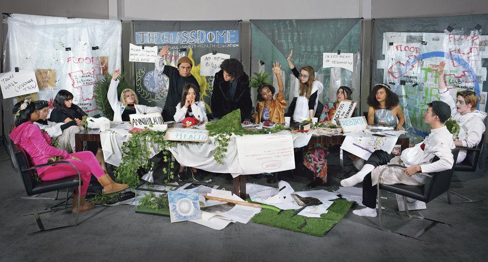 Adelita Husni-Bey.  The Council . 2018. Chromogenic color print, 72 × 108″ (182.9 × 274.3 cm). Courtesy the artist. Courtesy the artist and Laveronica arte contemporanea, Modica, Italy © 2018 Adelita Husni-Bey