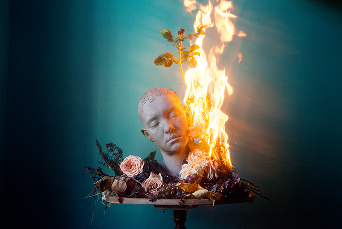 Bust of Ashley (on fire) 16x24 Archival Pigment Print 2017 © Ashley G. Garner