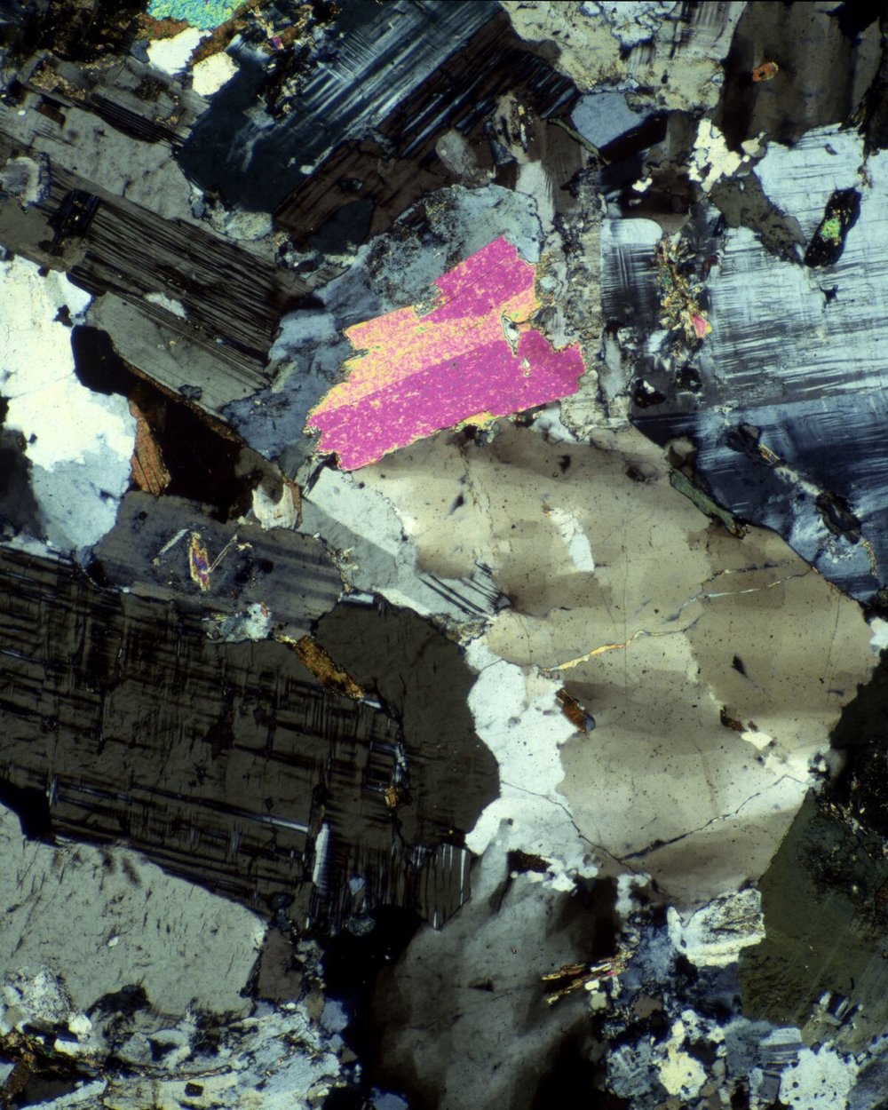 This picture features muscovite biotite granite,a North American mineral. The photomicrograph was made using polarized light. This reveals the birefringence (multiple refractive indices), and is evidenced by the appearance of the various colors in the picture.The picture is approximately 100x.© Michael Peres
