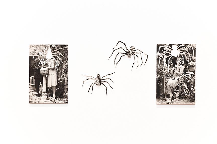© Kensuke Koike / Postmasters gallery, Spiderman & Spiderwoman , 2016. Cut vintage postcards, 5.5 x 3.5 inches.