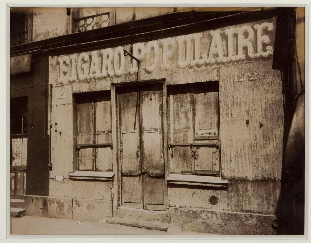 Eugène Atget (1857 – 1927), Boulevard de la Villette 122 , 1924 – 1925. Matte albumen ilver print, 17.8 x 22.5 cm / 7 x 8 7/8 in