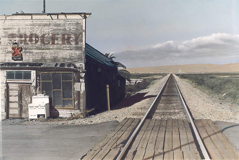 Alviso, San Fransisco Bay , 1979, painted 2018. Vintage gelatin silver print with applied oil paint. Image: 5 7/8 x 8 5/8 in. (14.9 x 21.9 cm). Paper: 8 x 10 in. (20.3 x 25.4 cm)