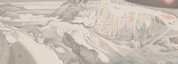 Hao Liang,  Streams and Mountains without End , 2017 (detail), ink and color on silk, 16 11/16 × 395 1/4 inches (42.4 x 1,004 cm) © Hao Liang