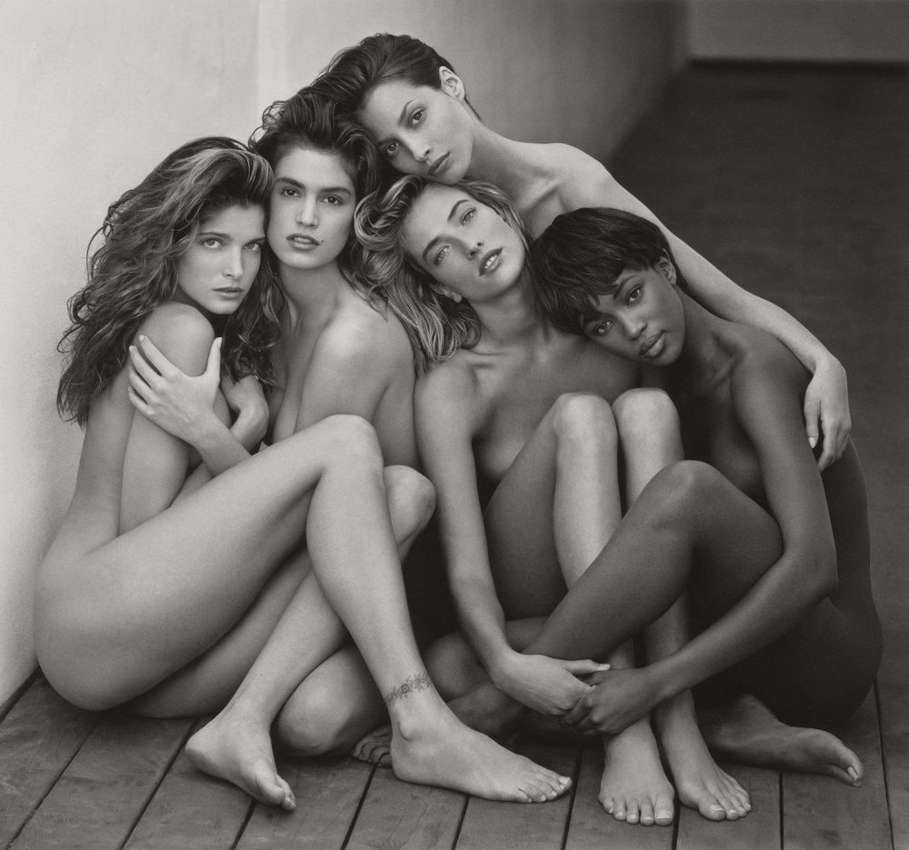 HERB RITTS (American, 1952–2002),  Stephanie, Cindy, Christy, Tatjana, Naomi, Hollywood , 1989. Gelatin silver print, 46.8 × 50.3 cm (18 7⁄16 × 19 13⁄16 in.) Los Angeles, J. Paul Getty Museum. Gift of Herb Ritts Foundation, 2011.18.28. © Herb Ritts Foundation
