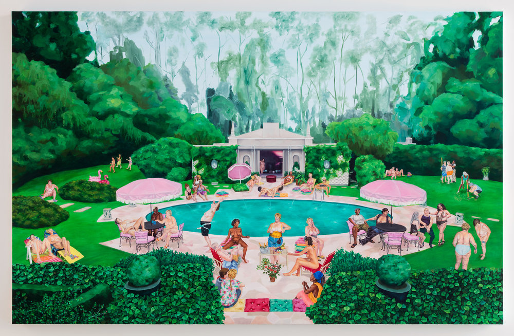 "Attractive People, Doing Attractive Things in Attractive Places - Pool Party 1 , 2018, Oil on Canvas, 60"" x 94 1/2"" (152.5 x 240 cm) © Samantha Nye, Courtesy of the Artist"