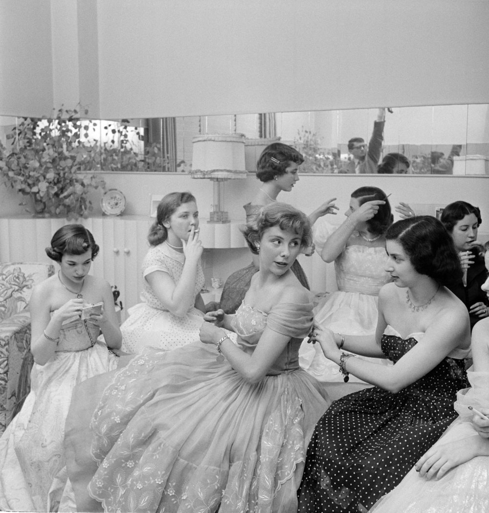 """Stanley Kubrick, Betsy von Furstenberg with friends from """"The Debutante Who Went to Work"""", 1950"""