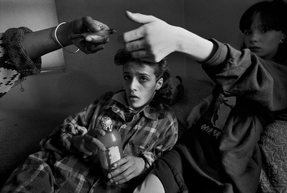 """Crack Annie,"" Brooklyn  , 1988. Gelatin silver print.  Collection of Eugene Richards. © Eugene Richards"
