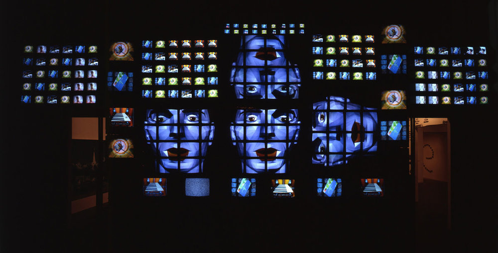 Fin de Siècle II , 1989. Seven-channel video installation (partially restored), 207 televisions, sound, 168 × 480 × 60 in. (426.7 × 1219.2 × 152.4 cm). Whitney Museum of American Art, New York; gift of Laila and Thurston Twigg-Smith 93.139. © Nam June Paik Estate