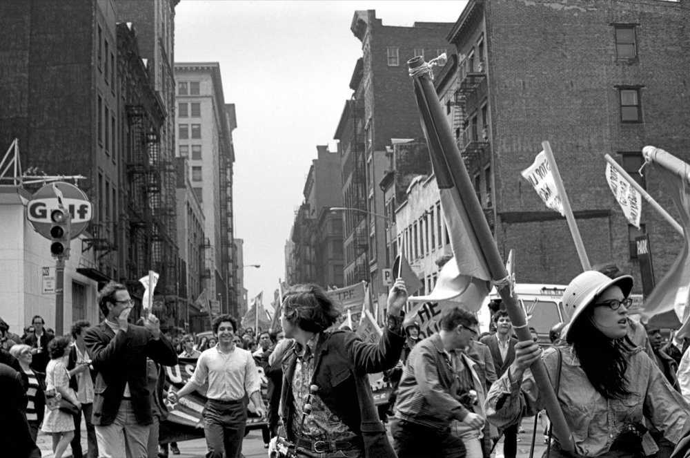 Anti-Imperialism March, 1968, Black and White photography  Courtesy of the artist and OSMOS, New York, © Bev Grant