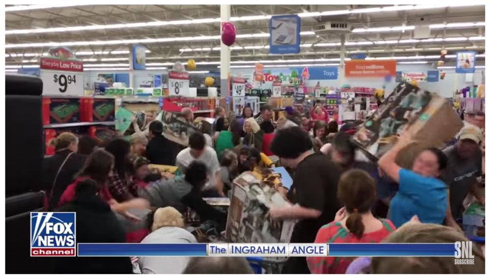A mob of Walmart shoppers, the first clip used by McKinnon's character in SNL.