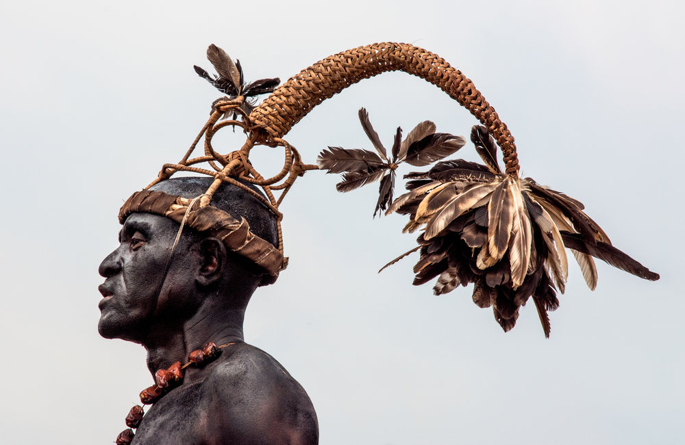 A warrior who has killed an enemy or proven himself to be brave wears an Nsala headless. © African Twilight: The Vanishing Cultures and Ceremonies of the African Continent by Carol Beckwith and Angela Fisher, Rizzoli, 2018.
