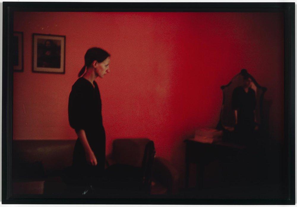 """Suzanne with Mona Lisa, Mexico City"". Nan Goldin (American, born in 1953). 1981. Photograph, silver-dye bleach print. * Gift of Davis and Carol Noble. © Nan Goldin. * Photograph © Museum of Fine Arts, Boston"