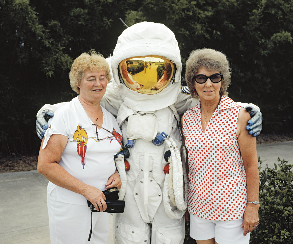 Tourists with mascot at Kennedy Space Center, Cape Canaveral