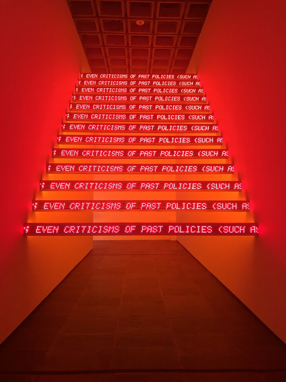 """Jenny Holzer """"Red Yellow Looming"""" (2004). 13 double-sided LED signs with red and amber diodes."""