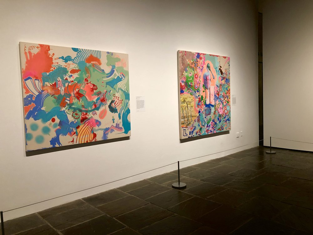 """Sue Williams """"Hill and Dale, Black-Ops"""" (2013), left. Oil and acrylic on canvas.  Sue Williams """"Mike and Zbigniew"""" (2012), right. Oil and acrylic on canvas."""