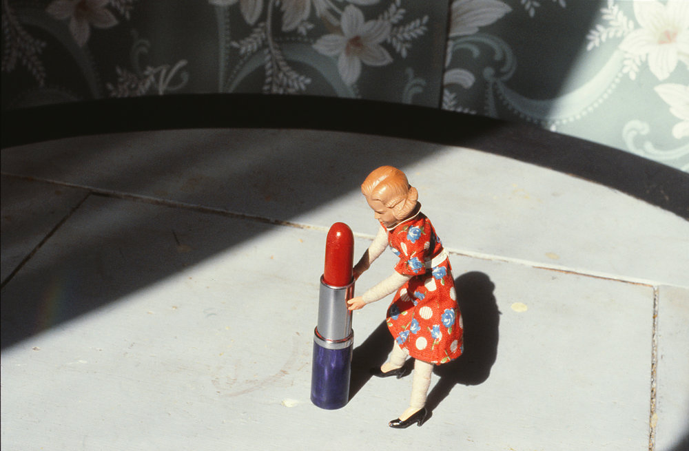 """Pushing Lipstick (Full Profile)"", 1979. Cibachrome Print .  Laurie Simmons. © Courtesy of Laurie Simmons"