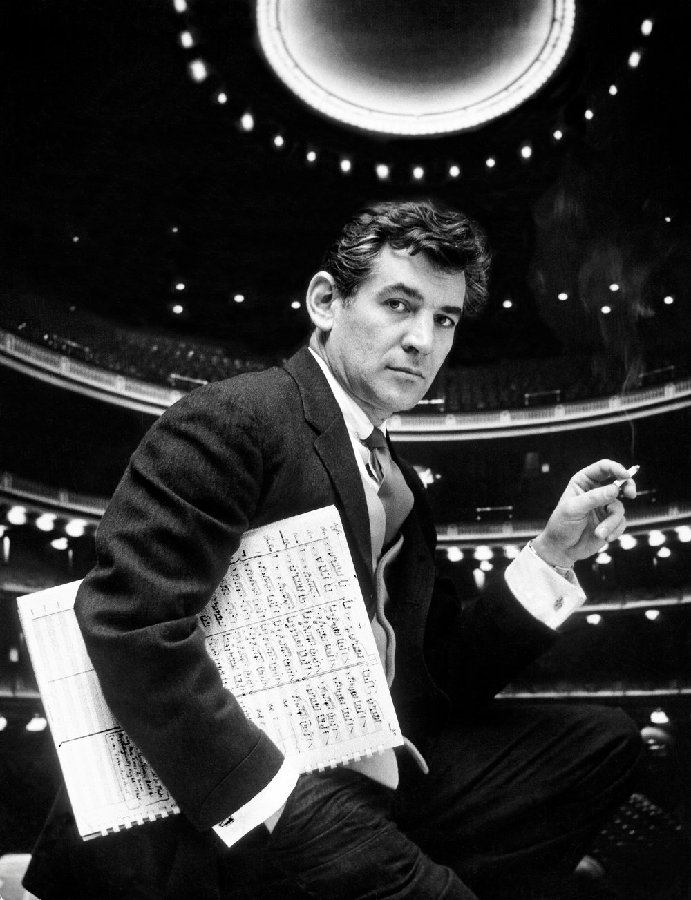 November 1955. Carnegie Hall. New York City. Portrait of Leonard Bernstein on stage Photo © Gordon Parks/The LIFE Picture Collection/Getty Images